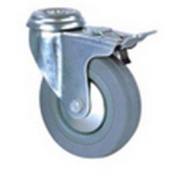 Колесо серая резина крепление под болт с тормозом