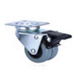 Колесо 2-х колесное серое поворотное с тормозом